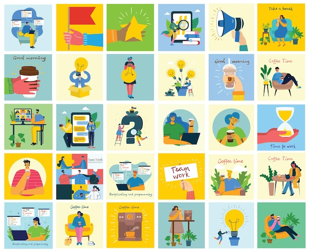 Illustrazioni del concetto di lavoro di squadra, affari e sfondi di avvio.
