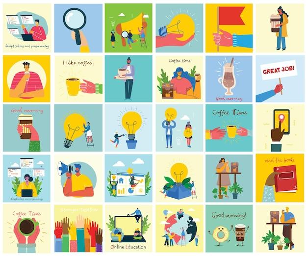 Illustrazioni del concetto di lavoro di squadra, affari e sfondi di design di avvio.