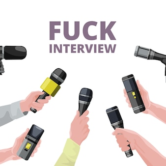 Illustrazioni per notizie quotidiane. mani che tengono i microfoni. intervista a banner microfono, giornalismo e reportage