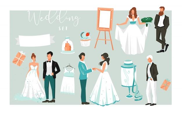 Illustrazioni de elementi grande set di felice coppie appena sposate persone, torte e icone per salvare le carte data isolato su sfondo bianco