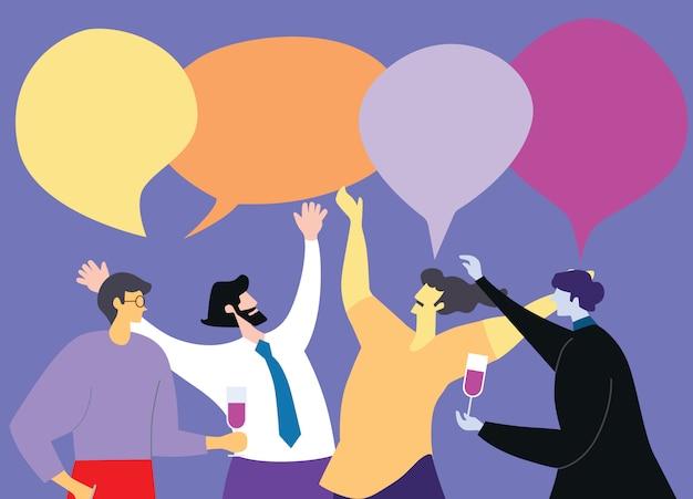 Le illustrazioni progettano la riunione d'affari e la discussione di concetto con lavoro di squadra.