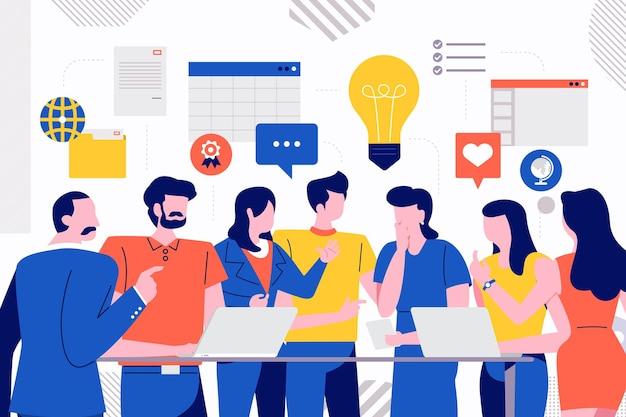 Le illustrazioni progettano la riunione d'affari di concetto e la discussione con il lavoro di squadra