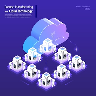 Rete digitale di concetto di design illustrazioni con tecnologia cloud