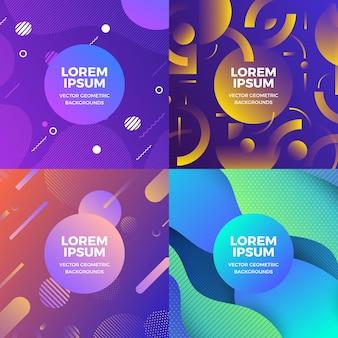 Illustrazioni design concept set di oggetti in stile memphis copre Vettore Premium