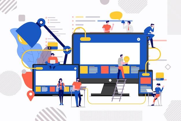 Illustrazioni design concept lavoro di squadra edificio sito web di sviluppo