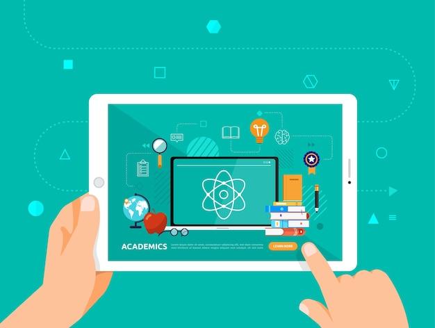 Le illustrazioni progettano l'e-learning concpt con un clic della mano su accademici del corso online tablet