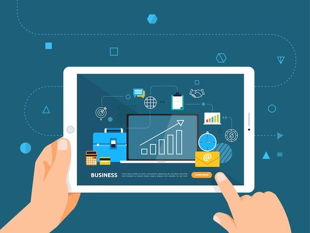 Le illustrazioni progettano e-learning concpt con un clic della mano sul business del corso online tablet