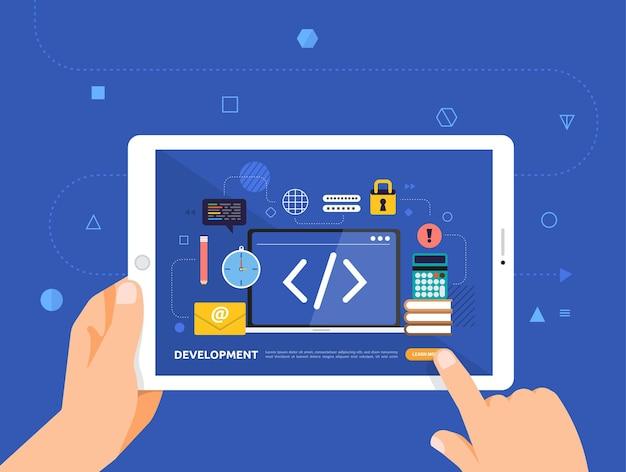 Le illustrazioni progettano l'e-learning concpt con il clic della mano sullo sviluppo del codice del corso online per tablet