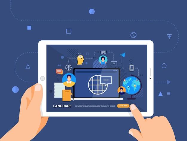 Le illustrazioni progettano l'e-learning concpt con il clic della mano sulla lingua del corso online tablet