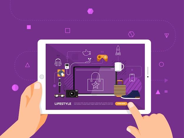Le illustrazioni progettano l'e-learning concpt con il clic della mano sullo stile di vita del corso online tablet