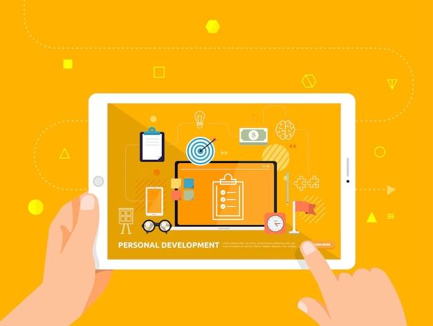 Le illustrazioni progettano l'e-learning concpt con il clic della mano sulla produttività dell'ufficio del corso online del tablet
