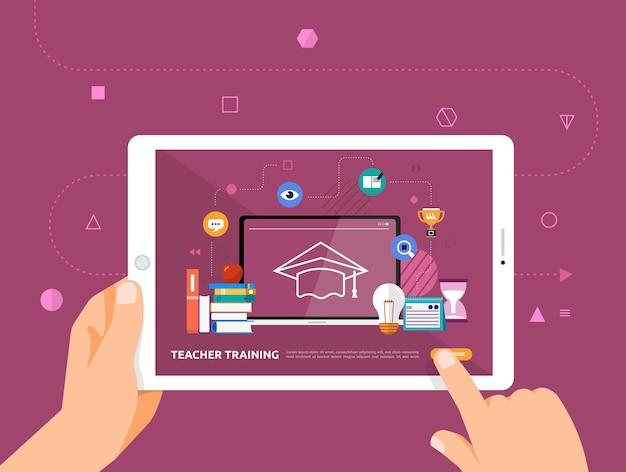 Le illustrazioni progettano l'e-learning concpt con il clic della mano sul tablet corso online di formazione degli insegnanti