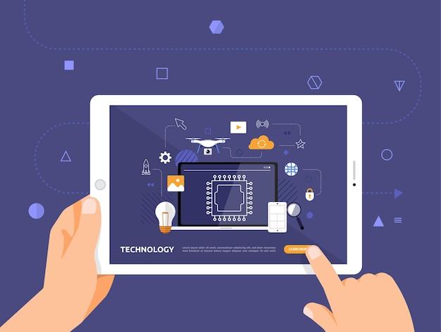 Le illustrazioni progettano e-learning concpt con un clic della mano sulla tecnologia del corso online tablet