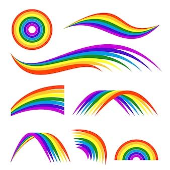 Illustrazioni di diversi arcobaleni isolano su bianco. modello per il logo. arcobaleno colorato arco e logo dell'onda