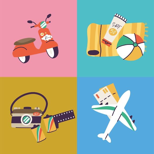Illustrazioni di diversi segni e loghi di viaggi, vacanze o festività. icone della raccolta del viaggio di vacanza estiva.