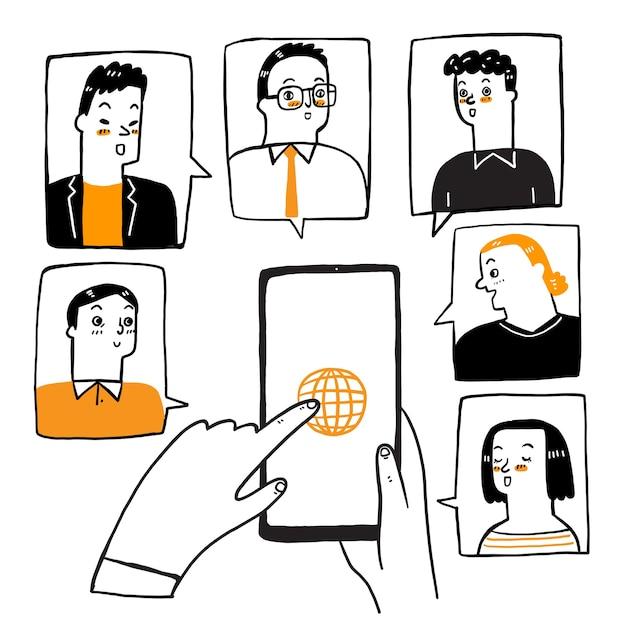 Le illustrazioni scarabocchiano la videoconferenza di concetto.