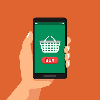 Illustrazioni design piatto concetto mano tenere smartphone acquisti online tramite cestino icona