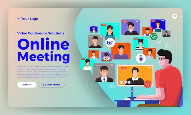 Video conferenza di concetto di design piatto di illustrazioni. riunione in linea di lavoro da casa. chiama e video dal vivo.