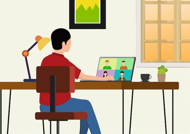 Videoconferenza di concetto di progetto piano delle illustrazioni. modulo di lavoro per riunioni online a casa.