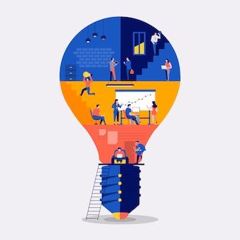Illustrazioni design piatto concetto di lavoro spazio edificio icona lampadina