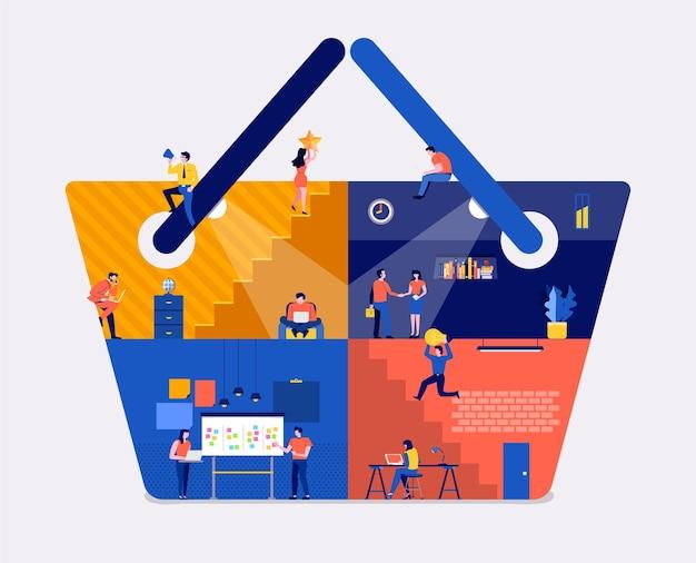Lo spazio di lavoro di concetto di design piatto di illustrazioni crea il sito web di shopping online dell'icona