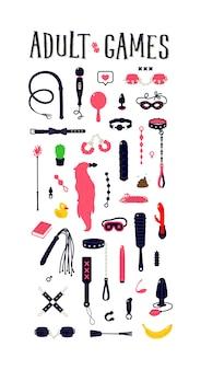 Illustrazioni e icone di giocattoli del sesso. giocattoli per adulti. un modello di strumenti del piacere.
