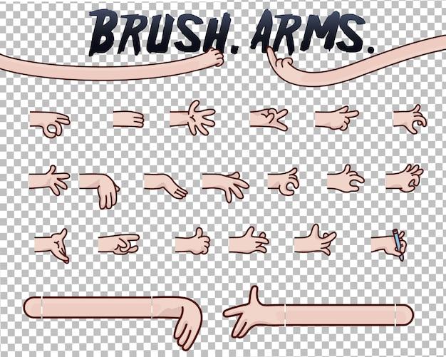 Pacchetto di illustrazioni di mani di cartone animato in vari gesti. set di mani umane con raccolta di diversi gesti per design, animazione,