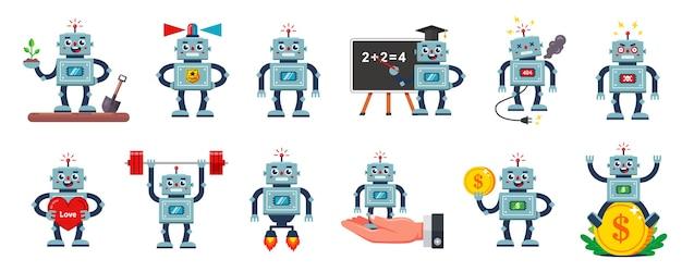 Illustrazioni di un personaggio robot con diverse professioni e situazioni