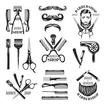 Serie di illustrazioni di diversi strumenti del negozio di barbiere.