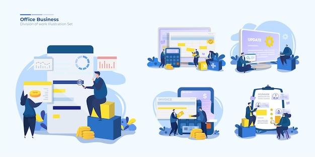Set di illustrazioni della divisione del lavoro d'ufficio