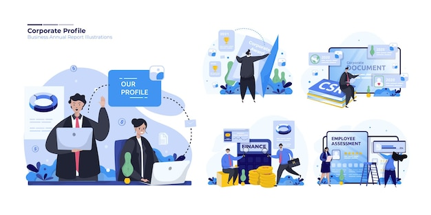 Set di illustrazioni del profilo aziendale finanziario aziendale