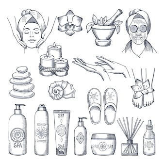 Illustrazioni impostate per il salone della stazione termale. candele, oli e pietre, idroterapia. terapia di bellezza e relax termale per il benessere