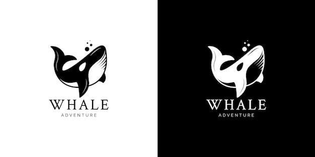 Illustrazioni del design del logo della balena