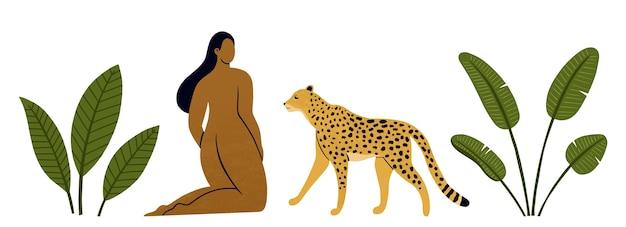 Illustrazioni di donna con leopardo e foglie tropicali