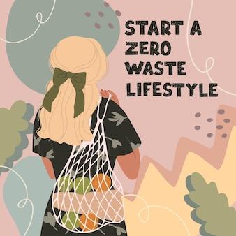 Le illustrazioni di una giovane donna con borsa ecologica e scritte iniziano uno stile di vita a rifiuti zero