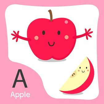Illustratore di un simpatico alfabeto di frutta mela