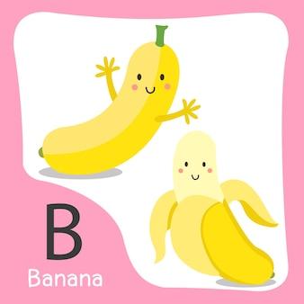 Illustratore di un simpatico alfabeto di frutta a banana