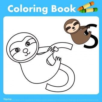 Illustratore di libri a colori con animali bradipo