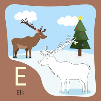 Illustratore di elk isolato e da colorare