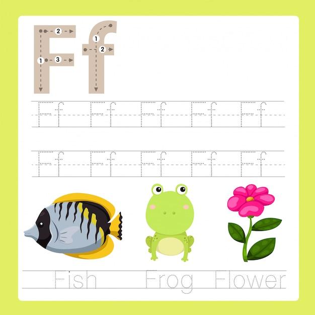 Illustratore di f esercita il vocabolario dei cartoni animati az