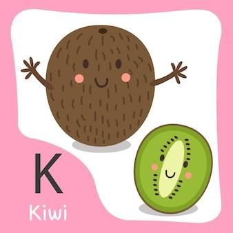 Illustratore di un simpatico alfabeto di kiwi
