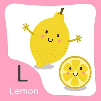 Illustratore di un simpatico alfabeto di frutta al limone