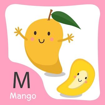 Illustratore di un simpatico alfabeto di frutta mango