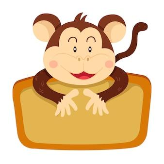 Illustratore di etichetta scimmia
