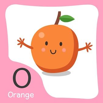 Illustratore di un simpatico alfabeto di frutta arancione