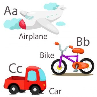 Illustrator per veicoli set 1 con airplane bike and car