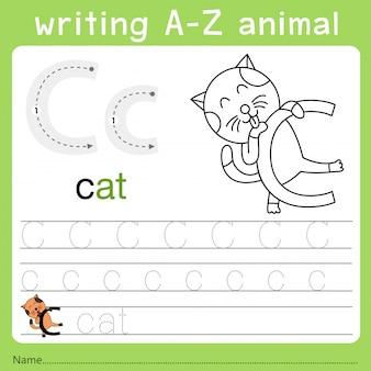 Illustratore di scrittura az animale c