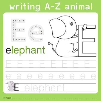 Illustratore di scrittura az animal e