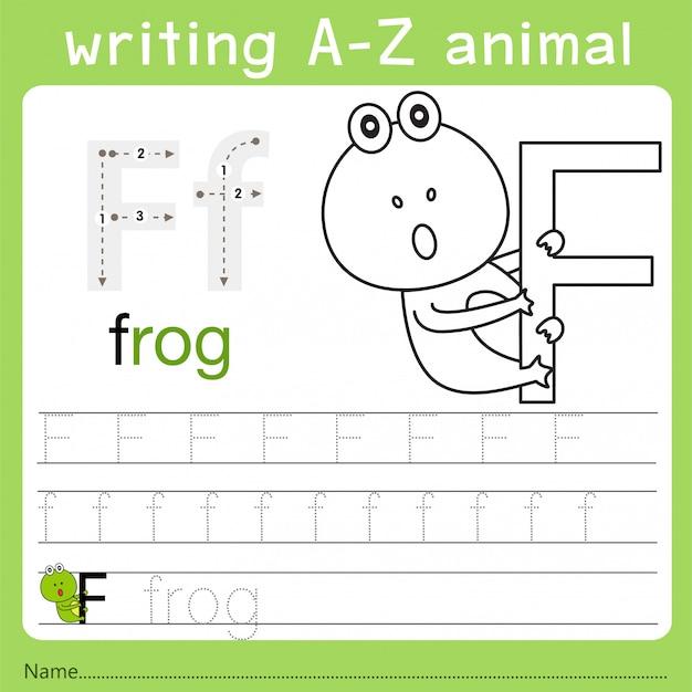 Illustratore di scrittura az animale f