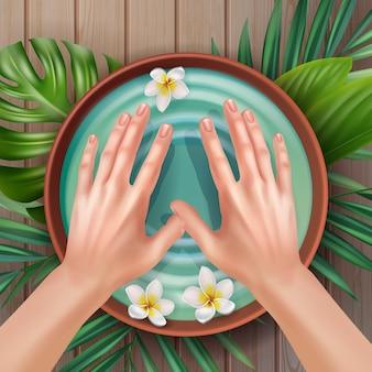Illustrtion di mani femminili e ciotola di acqua termale con fiori